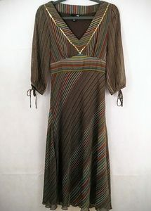 H&M Brown Long Sleeve Striped Dress Size 8